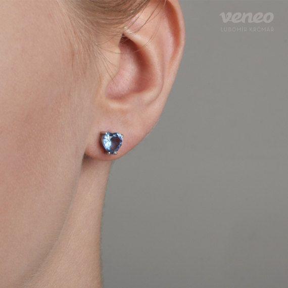 Odette. Gentle Handmade Topaz Heart Earrings. Sterling by Veneo