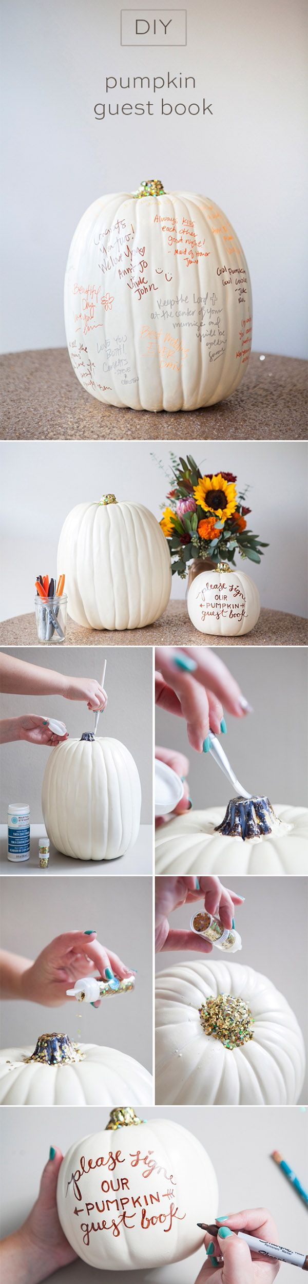 diy pumpkin wedding guest book for fall wedding ideas