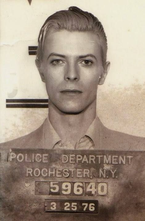 """theunderestimator:   """"The most stylish mugshot ever:  David Bowie arrested in New York on March 1976 on a felony pot possession charge."""" The Temple Experience"""