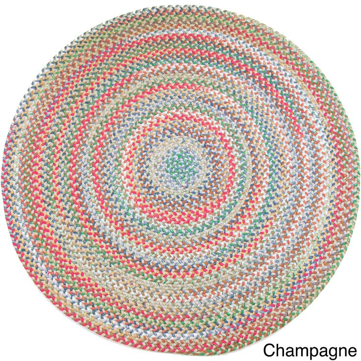Charisma Indoor / Outdoor 8-foot Round Braided Rug by Rhody Rug (Champagne), Tan, Size 8' (Nylon, Border)