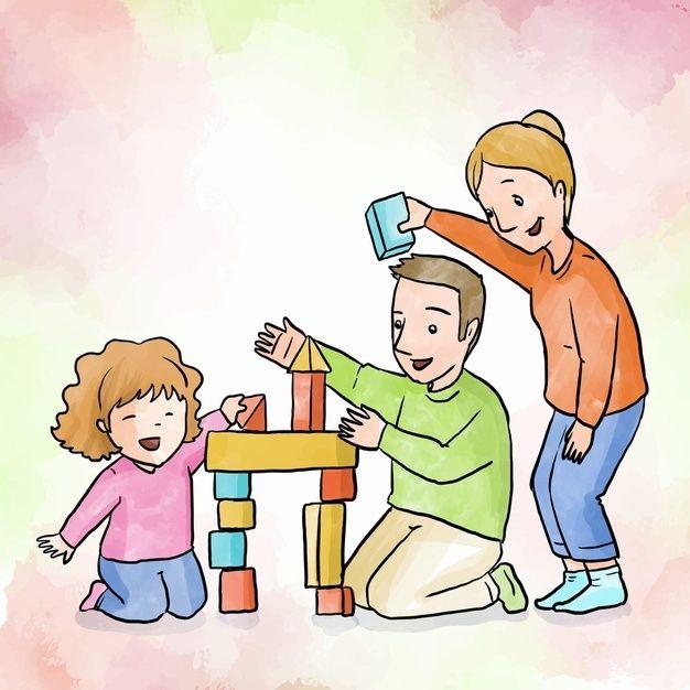 Familia Disfrutando El Tiempo Juntos Jug Free Vector Freepik Freevector Personas F Ilustracion De Los Ninos Dibujos De Convivencia Familia Ilustracion