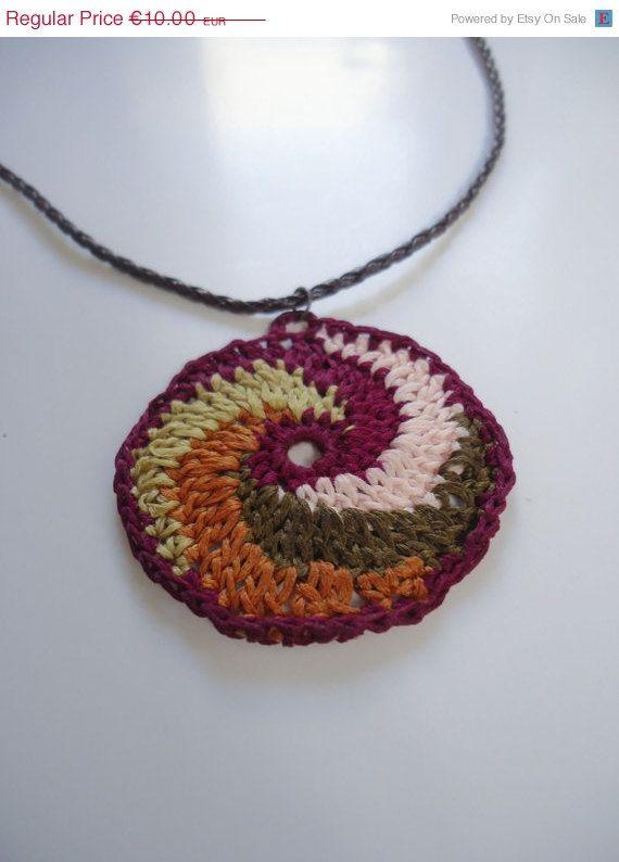Handmade crochet necklace multicolor thread by AlkistiKnits #handmadejewellery #necklace #womensaccessories #pendant #crochetnecklace