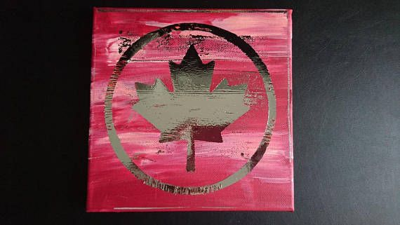 maple art canvas, Canada, Kanada, Ahornblatt, Leinwand, Acrylfarbe, Foliendruck, canvas, deco foil, htv, heat transfer vinyl, mixed media