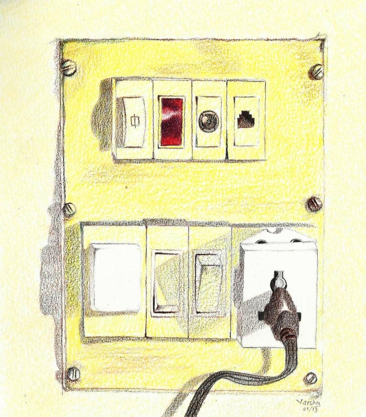 """""""Switchboard"""" by Varsha. Medium: Staedler Water Color Pencils without use of water  :))"""