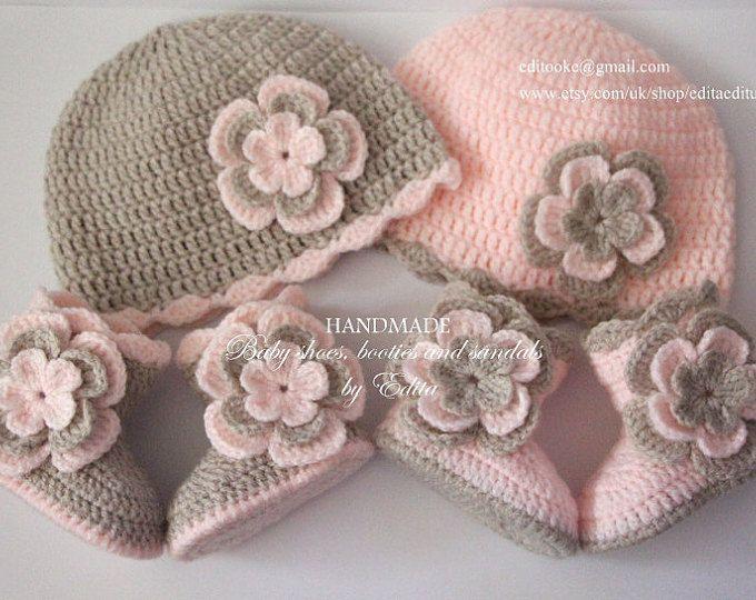 Gehaakte babyset voor tweeling babymeisje, babymutsje, muts, schoenen, laarzen, peachy pastel roze, beige, 0-3, 3-6 maanden, baby douchegift