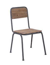 Sedia in ferro grigio e legno brunito