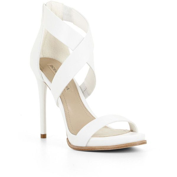 BCBGMAXAZRIA Elyse High-Heel Crisscross Ankle Day Sandal ($163) ❤ liked on Polyvore featuring shoes, sandals, heels, high heels, sapatos, open toe high heel sandals, ankle wrap sandals, high heel platform sandals, ankle strap heel sandals and high heels stilettos