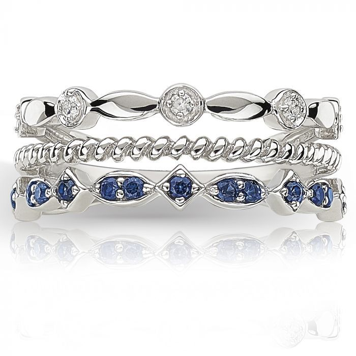 Ivy Scroll Bands: Created Sapphire & Diamond Stackable Band In Sterling