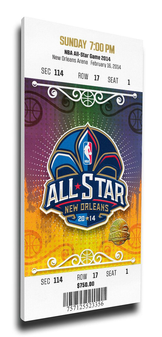 2014 NBA All-Star Game Canvas Mega Ticket, Pelicans Host - MVP Kyrie Irving, Cavaliers