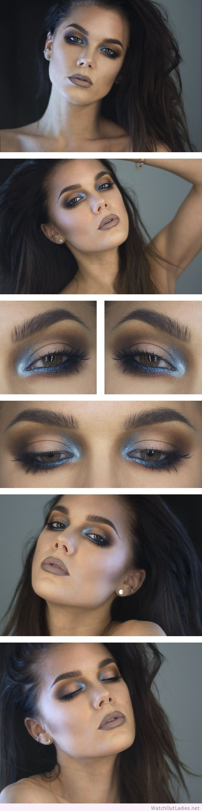 Linda Hallberg dark makeup and blue accent                                                                                                                                                                                 More