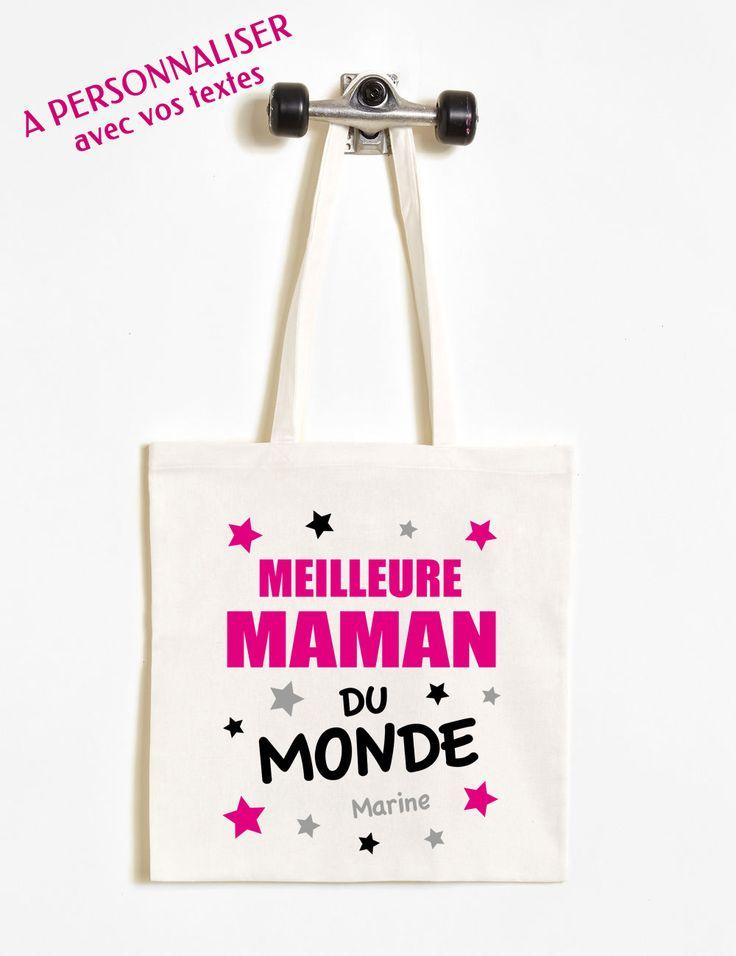 Un sac shopping (Tote Bag) personnalisé pour la meilleure maman du monde ! Tous les textes sont à personnaliser - à partir de 15,90€