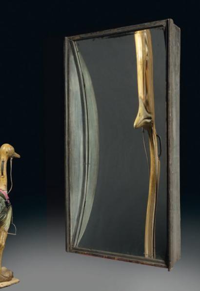 Anonyme Grand miroir déformant, rigolarium Cadre bois noirci, miroir France,