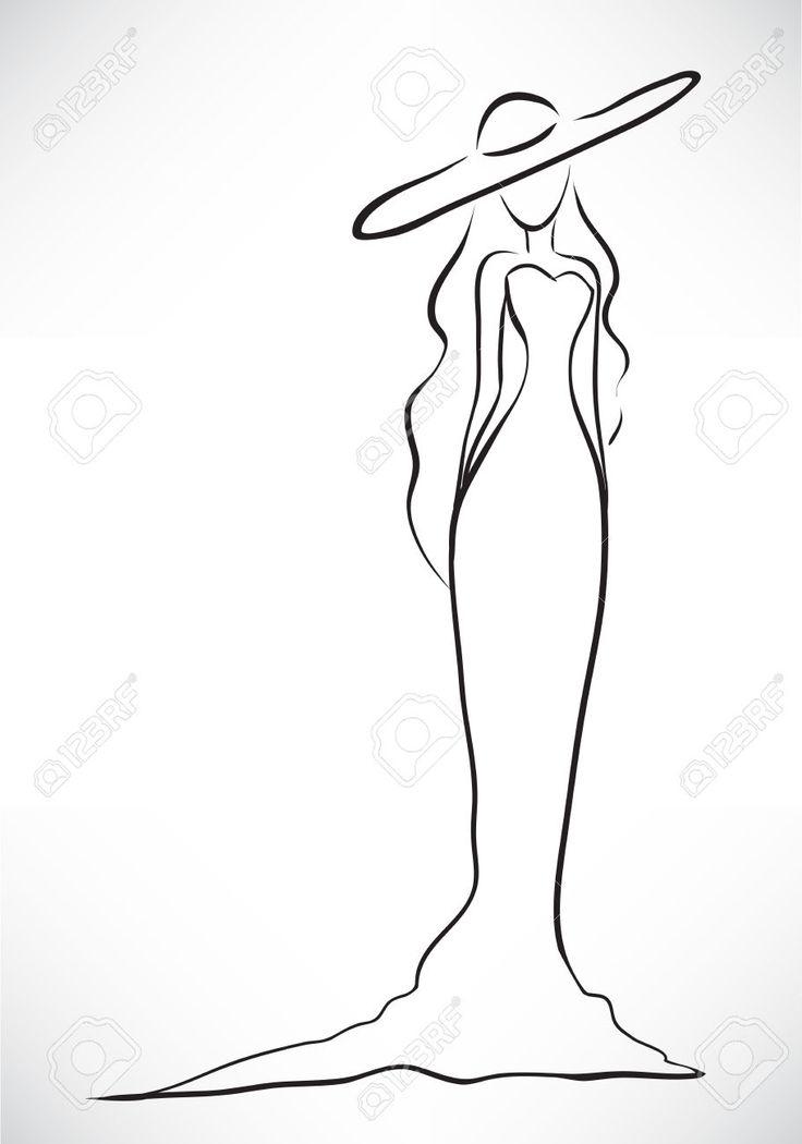 Retrato Do Vetor Com Uma Silhueta Da Jovem Esbelto Graciosa Vestida Em Um Vestido Longo E Um Grande Chap Royalty Free Cliparts, Vetores, E Ilustrações Stock. Image 22765719.