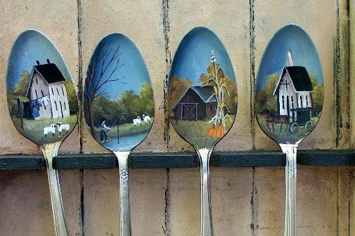 Hand Painted Spoons Spoon Rack Amish Farm Saltbox Barn Sheep Pumpkins