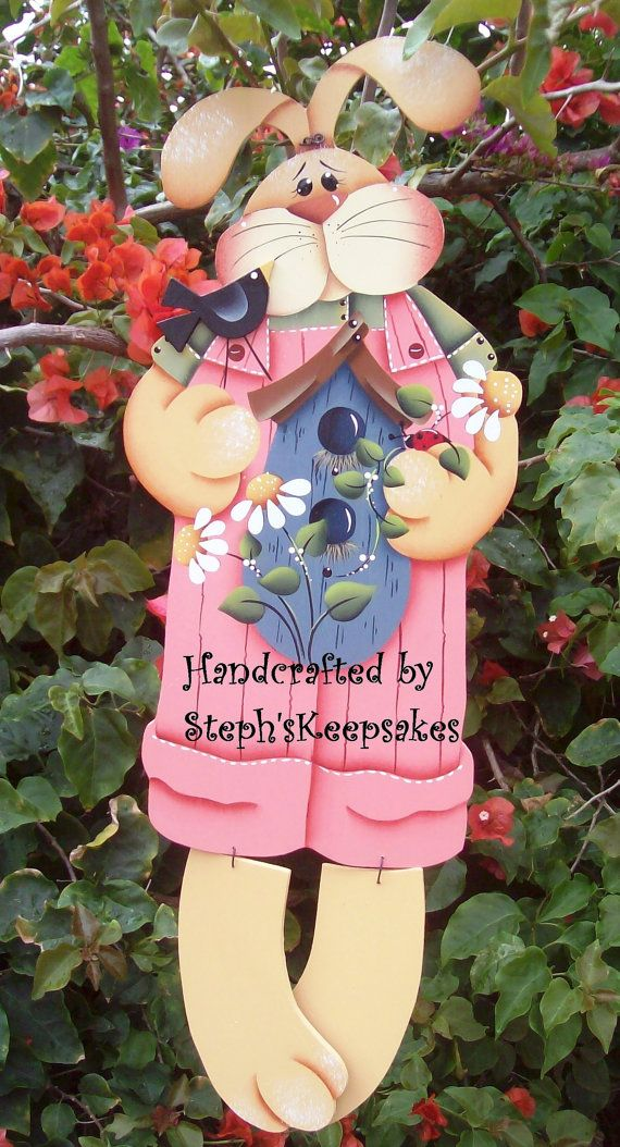 Hand painted Spring Bunny Hanger Wooden Boy by stephskeepsakes