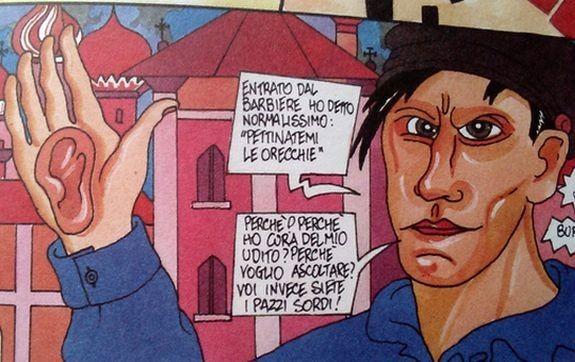 """Будьте добры, причешите мне уши http://www.cosmo-expo.ru/news/0.php?show_art=10221  Итальянский художник Пабло Эшарен, девиз которого Make art, not money (делайте искусство, а не деньги) создал графический роман """"Маяковский"""", в котором есть и про парикмахера с ушами клиента. --------------------------------------- #ВладимирВладимирович #Маяковский"""