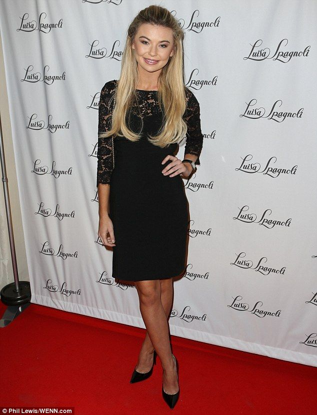 Nights in black lace: Georgia Toffolo sported a long sleeved lacy black dress