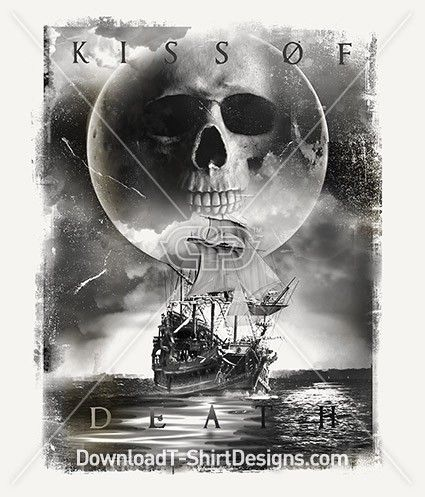 Kiss of Death Pirate Ship Skull Moon. Download this design & print on your T-Shirts or products today.