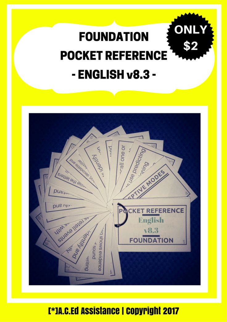 ENGLISH:This NEW 'Pocket Reference' is an essential tool in any Foundation classroom! It's such a quick and easy-to-use reference that identifies the Receptive and Productive Modes and Foundation Year...