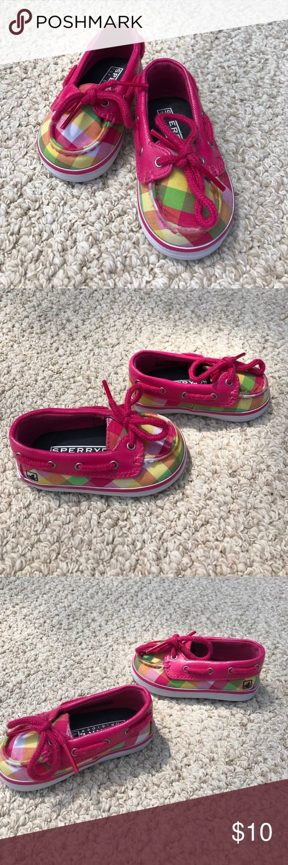 "ADORABLE, Pink Plaid Baby Sperrys - Size 3 ADORABLE, Pink Plaid Baby Sperrys - Size 3!!  Never worn, bought when I was pregnant with my 2nd, but then found out I was having a boy!  They are beyond cute, we clearly just have no need.  Hopefully there is a little lady out there who would look great in them!!  I also noticed for the first time, the interior says;  ""sample only, not for resale"", (see last photo), I have no idea what that means, lol!!  They look like shoes to me!! Sperry Shoes"