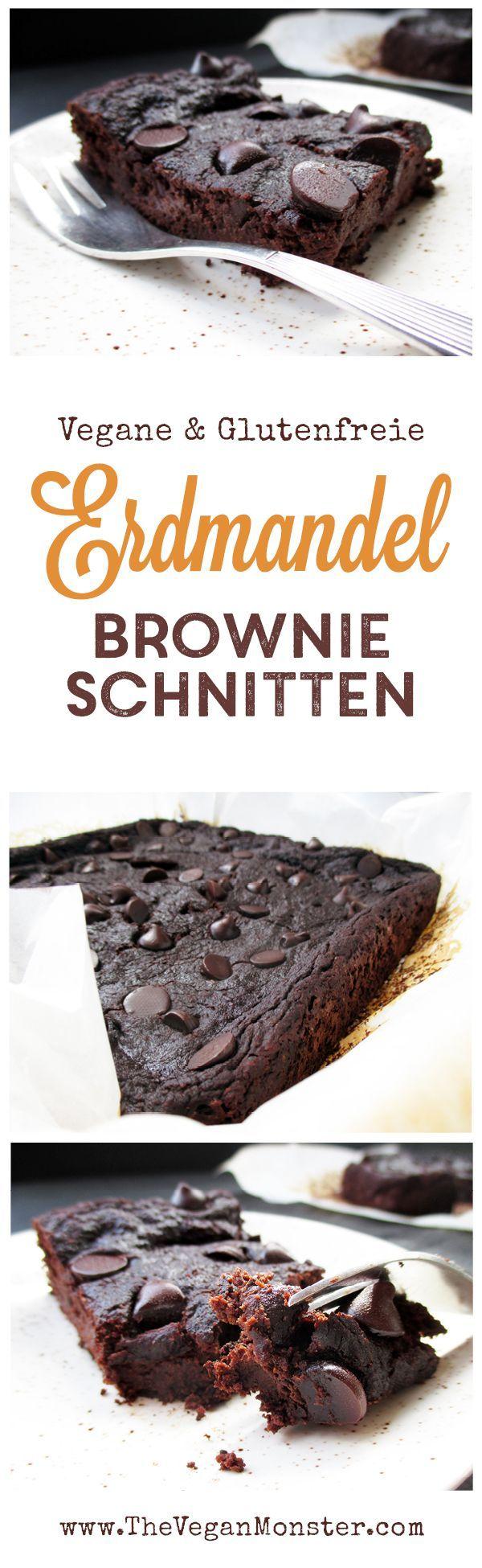 Erdmandel Brownie Schnitten. Vegan, glutenfrei, ohne Kristallzucker, ohne Nüsse.