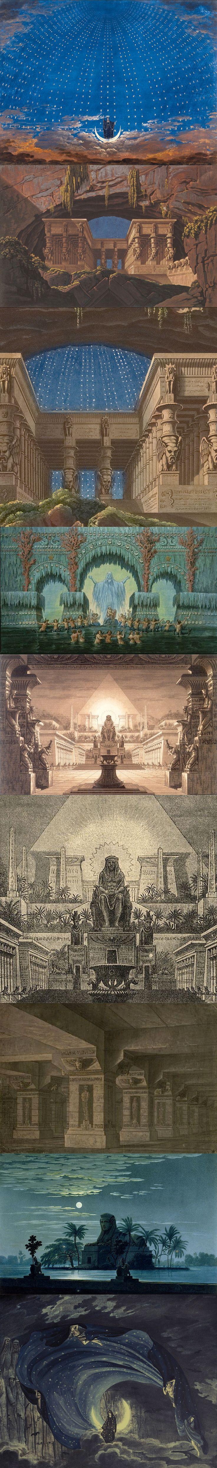 Karl Friedrich Schinkel, scenic designs for Die Zauberflöte (The Magic Flute); The Hall of Stars in the Palace of the Queen of the Night [Königin der Nacht]; Entwurfzeichnung zum Bühnenbild, Berlin, c. 1816.