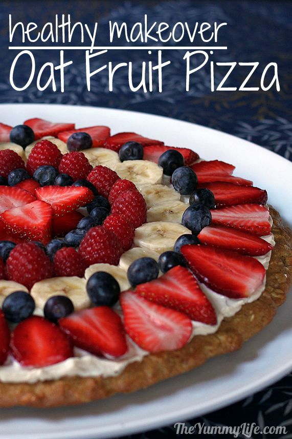 Healthy Fruit Pizza with a whole grain, oatmeal cookie crust and yogurt frosting. www.theyummylife.com/Healthy_Fruit_Pizza