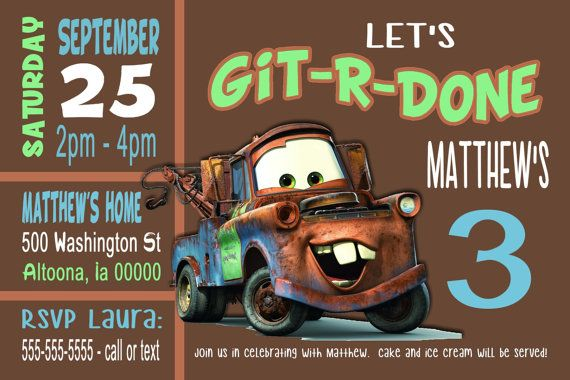 Hey, I found this really awesome Etsy listing at https://www.etsy.com/listing/397977287/custom-tow-mater-birthday-party