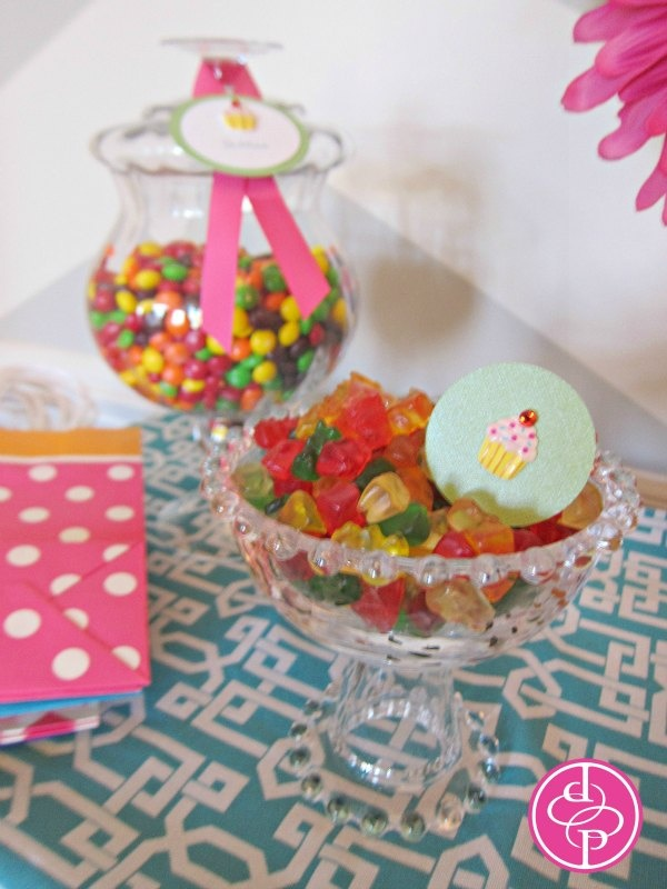 Kid-friendly and colorful gummy bears and Skittles!  Candy display for 1st birthday | posh productions, LLC