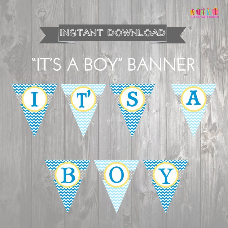"""INSTANT DOWNLOAD """"It's a Boy"""" Baby Shower Banner - Printable Baby Shower Banner - Baby Shower Decoration - Chevron Banner - Yellow & Blue"""