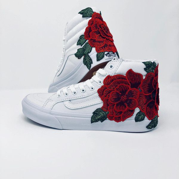 862ead76e5 Rose Embroidered Vans Floral Embroidery Vans Roses Custom Vans Women s...  ( 100) ❤ liked on Polyvore featuring shoes