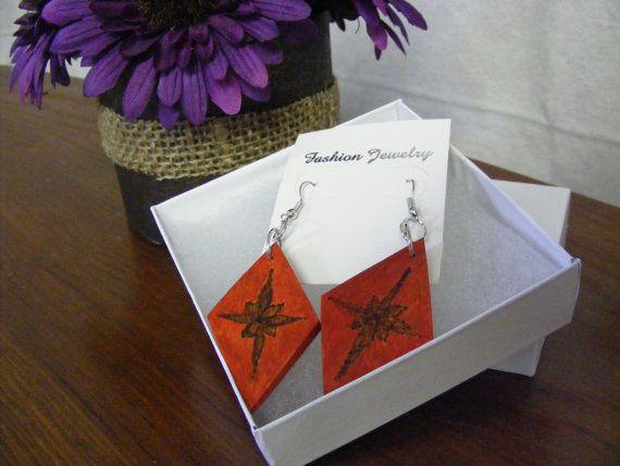 Orange diamond shaped rustic/boho earrings with by byRickMarsh