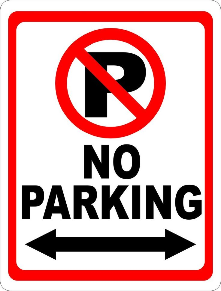 No Parking Sign with Symbol & Arrow