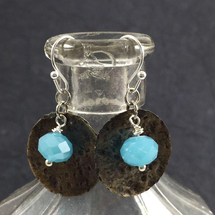Boho Indie Style Earrings, Beach Wedding Jewelry, Gypsy Style Jewelry, Blue Stone Earrings, Dangle Style Earrings by kyleemaedesigns on Etsy