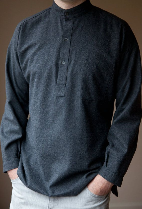Wool shirt 'Slate' Traditional by HovdenFormalFarmWear on Etsy