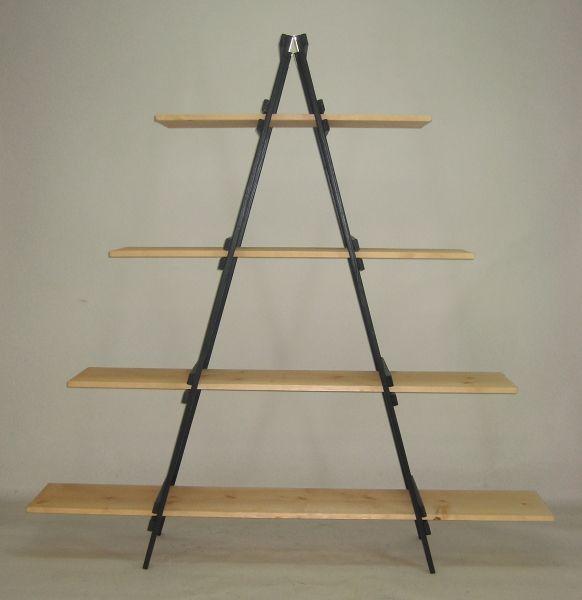 folding a frame display with 4 removable shelves wood. Black Bedroom Furniture Sets. Home Design Ideas