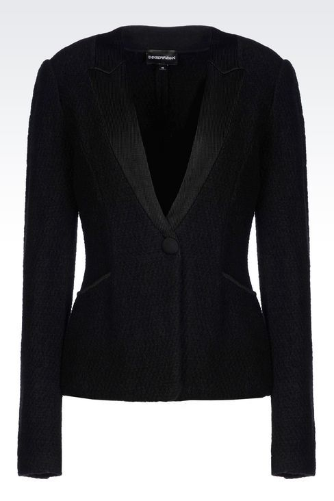 Emporio Armani Women One Button Jacket - SINGLE BREASTED JACKET IN BOILED WOOL Emporio Armani Official Online Store