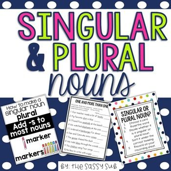Included in this packet, you will find the following resources for teaching the difference between singular and plural nouns, how to recognize them, sort them and spell them.   --reference posters in color and black and white options  --posters for reviewing the rules for changing words from singular to plural  --singular and plural noun word sorting center in color and black and white with recording sheet  --3 no prep printables with answer keys
