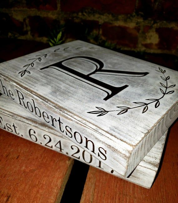 Wood Stacked Books | Faux Stamped Books | Decorative Book Stack | Painted Books | Farmhouse Book Decor | Customized Book Stack Gift | Signs