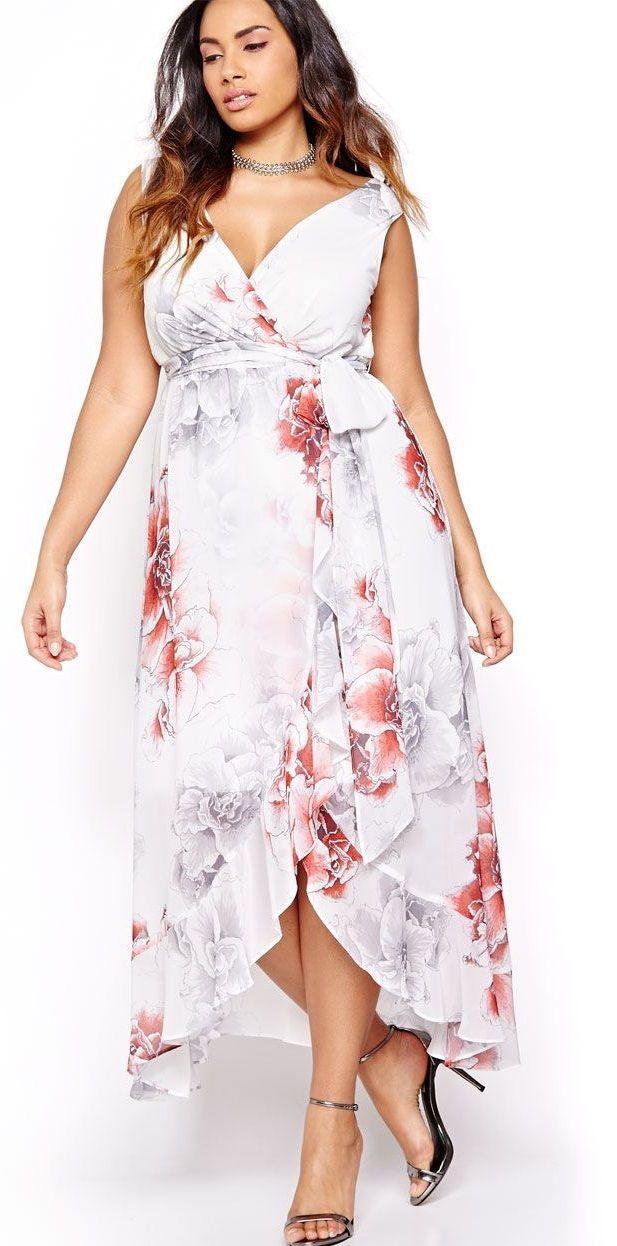 Plus Size Wrap Maxi Dress - Plus Size Fashion for Women