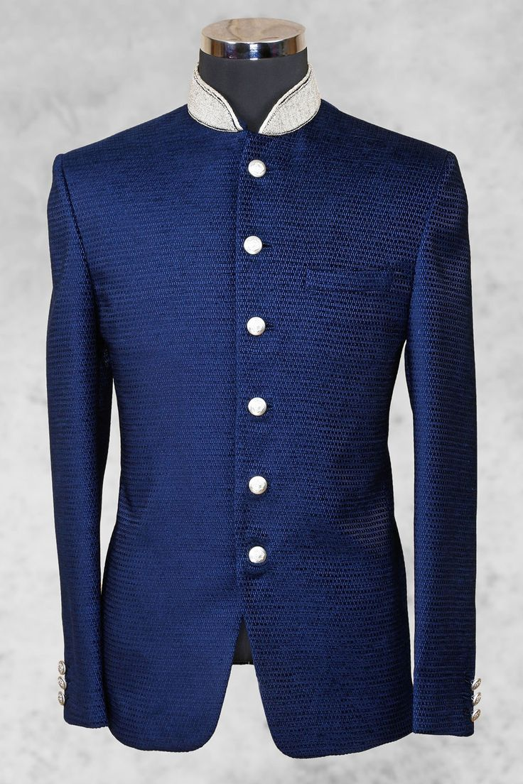 Navy #blue pleasing #jute suit with bandhgala collar-ST472