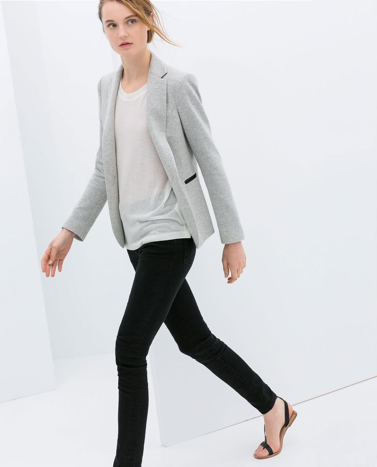 Can't get enough of the black leather trimming - VELOUR BLAZER WITH FAUX LEATHER DETAIL - Zara 2014 Spring