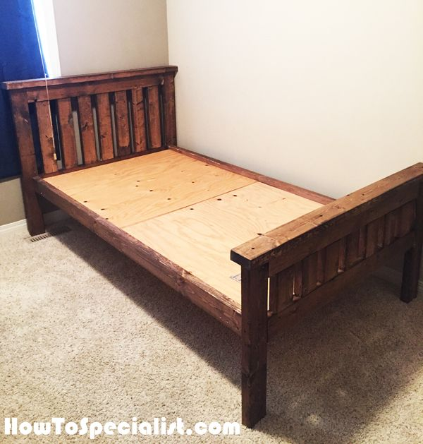 Diy 2x4 Farmhouse Bed Howtospecialist How To Build Step By Step Diy Plans Diy Twin Bed Frame Diy Twin Bed Diy Bed Frame