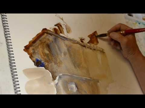 Monika Reiter, Aquarell Lavieren II, Haus - YouTube