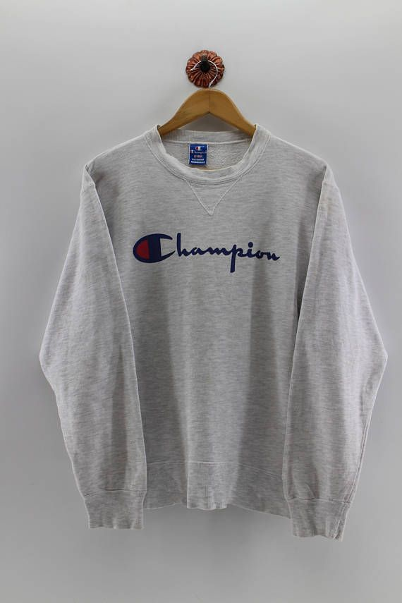 CHAMPION Pullover Sweatshirt Medium Women Champion Authentic American  Jumper Champion Usa Crewneck Grey Sweater Unisex Size M 19393c10a88d