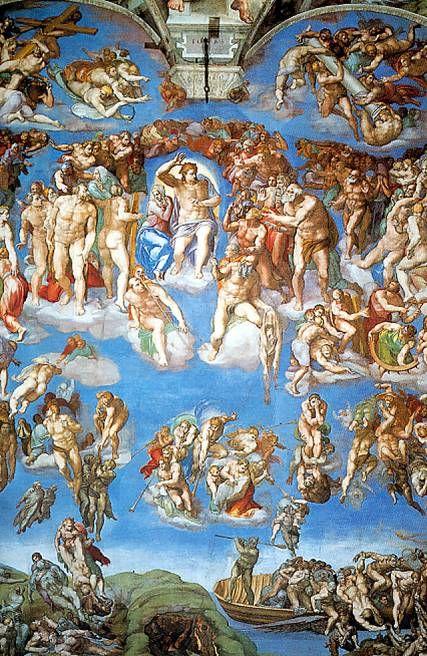 최후의 심판  미켈란젤로   프레스코화, 137 x 122 cm, 1537-41,  바티칸 궁 시스티나 예배당 천장     가상의 큐레이팅이지만 실제로 전시회를 연다면 전시회의 천장으로 하고싶은 작품이다.  미켈란 젤로가 자신의 모든 역량을 쏟아부은 천정화의 가운데 부분으로 예술가의 집념과 양보할 수 없는 완벽함의 추구가 돋보이는 작품이다.