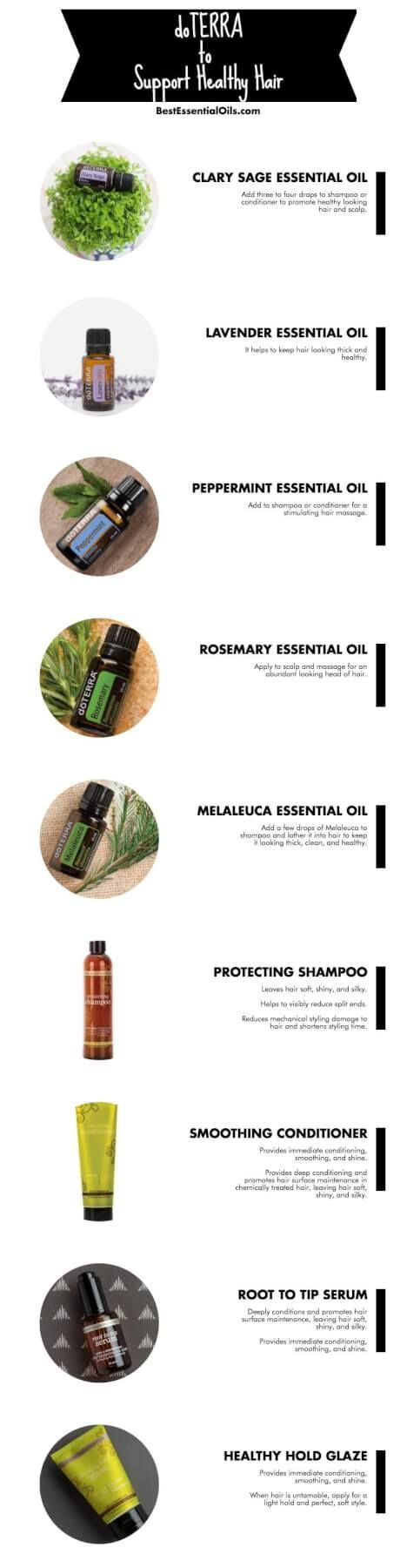 doTERRA Products to Support Healthy Hair - clary sage, lavender, peppermint, rosemary, melaleuca, shampoo, conditioner, Root to Tip serum and Healthy Hold Glaze.