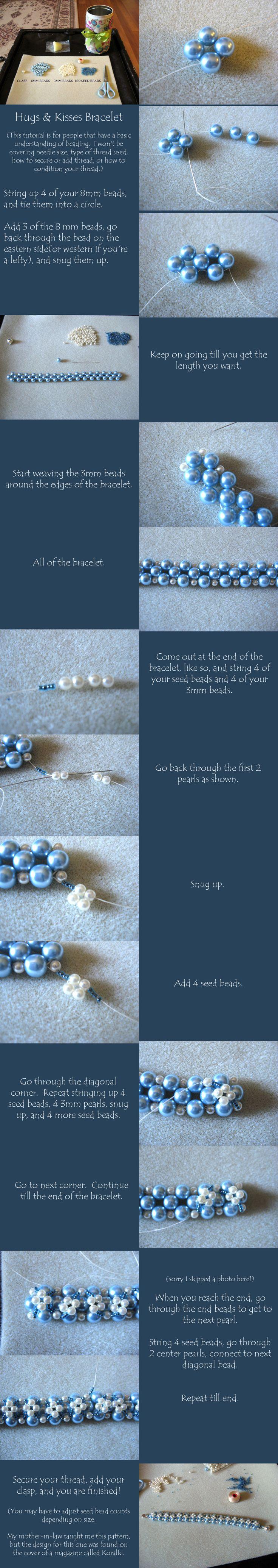 hugs and kissesHug And Kisses Bracelets, Beads Weaving Tutorials, Bracelets Tutorials, Beads Bracelets, Beaded Bracelets, Beadweaving, Bead Weaving, Pearls Bracelets, Arwen Art
