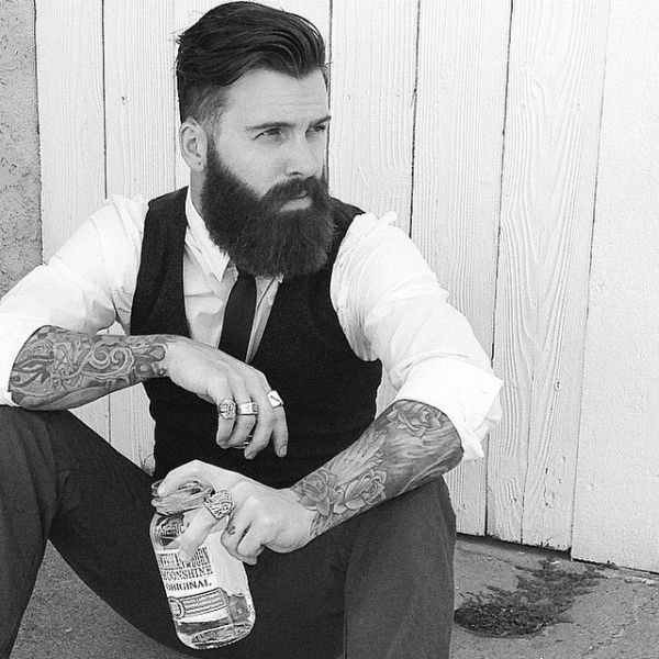 Levi Stocke being as aesthetically pleasing as possible - full thick beard and mustache beards bearded man men mens' style clothing fashion retro dapper vintage tattoos tattooed hairstyle hair cut barber handsome #beardsforever by usccecil