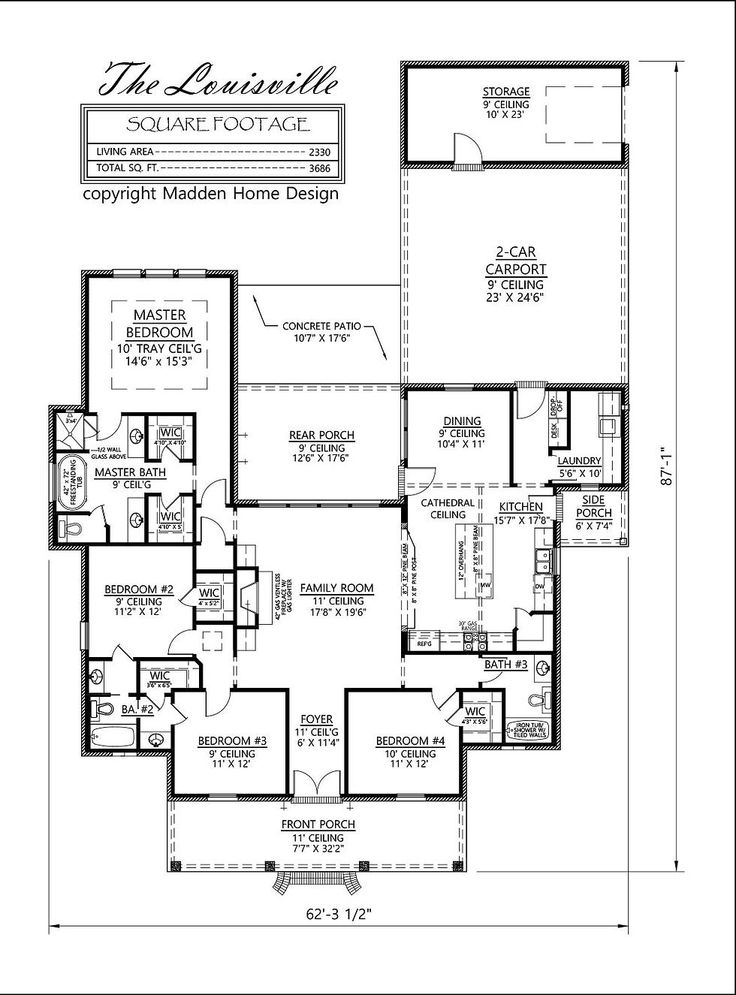 Madden Home Design   The Louisville Acadian Style, 4 Bedroom, 3 Bath.